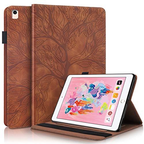 YKTO Funda Protectora de Cuero con Case Inteligente para Tableta de PU con Soporte, Portalápices, Ranuras para Tarjetas de Billetera para Despertador/Sueño para iPad 5/6/8/9 - Marrón