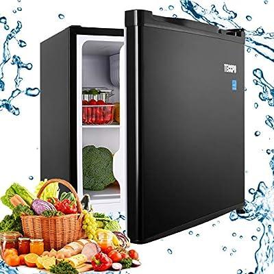 Compact Refrigerator, TECCPO 1.6 Cu.Ft. Small Fridge with Freezer, Energy Star, Reversible Door, Adjustable Thermostat Control, 35 dB Super Quiet for Bedroom, Dorm, Office, Apartment, Studio- Black- TAMF04