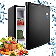 Compact Refrigerator, TECCPO 1.6 Cu.Ft. Small Fridge with Freezer, Energy Star, Reversible Door, Adjustable Thermostat Control, 35 dB Super Quiet for Bedroom, Dorm, Office, Apartment, Studio- Black- TAMF04