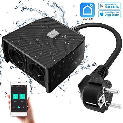 Presa Intelligente da Esterno, con 2 Prese Telecomando,16A 3840W Smart Wifi Impermeabile per...