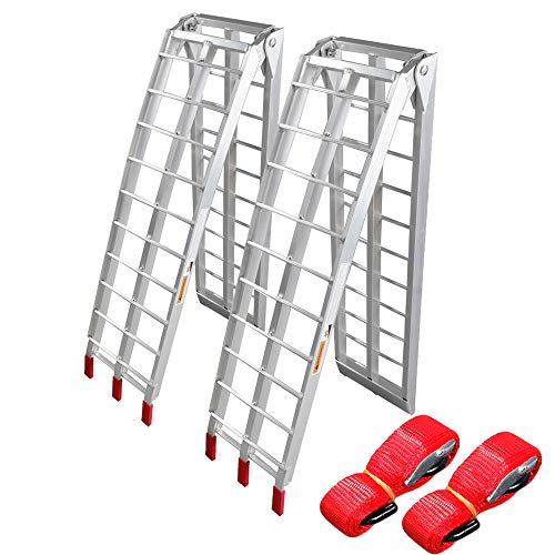 TRIBLE SIX Pair 7.5' Motorcycle ATV Ramp Aluminum Folding Loading Pick Up Truck Dirt Bike UTV Lawnmower Scooter,1500lb Capacity,Lightweight & Safe