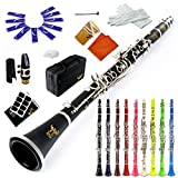 ROFFEE clarinet beginner student level 26N B flat ABS nickel plated 17 keys Bb tone with 2 berrels,case,10 reeds,mouthpiece and...