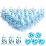 N&T NIETING Baby Shower Feeding Bottle, 24Pcs Baby Shower Favours with 5Pcs Artificial Roses Blue Candy Box for Baby Shower Party Decoration