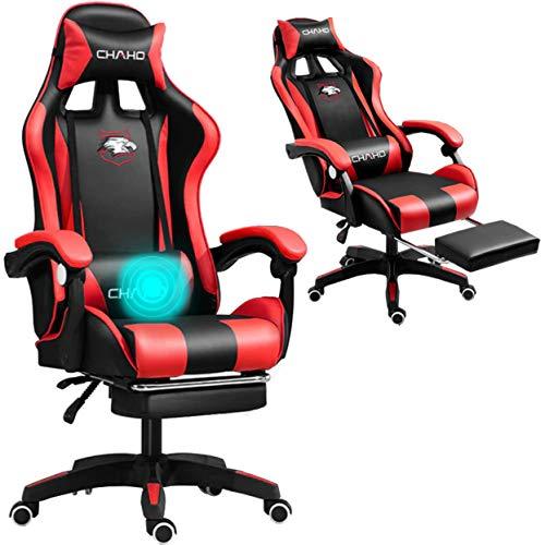 Grykon Silla de ordenador para juegos con masajeador, ergonómica, silla de oficina, silla de carreras, silla de ordenador, reposacabezas ajustable con respaldo alto, reposapiés y reposabrazos (rojo)