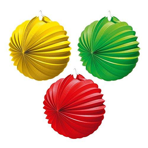 Susy Card 11141967 - Lampion, Durchmesser 22 cm, 1 Stück, rot/ grün/gelb