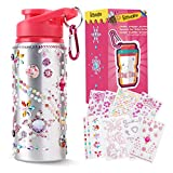 Beewarm Gift for Girls, Decorate & Personalize Your Own Water Bottles with Tons of Rhinestone Glitter Gem Stickers, Reusable BPA Free 20 oz Kids Water Bottles, Fun DIY Art and Craft for Kid Pink