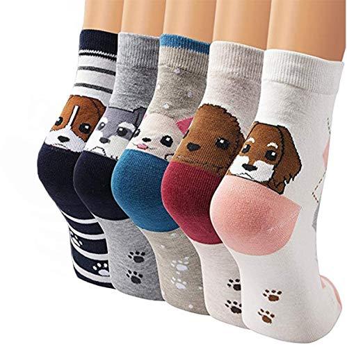 CUQOO 5 pares de calcetines para mujer con patas de espalda, de algodón, para perro, cachorro, animal, divertidos, para uso diario, regalo de cumpleaños o Navidad