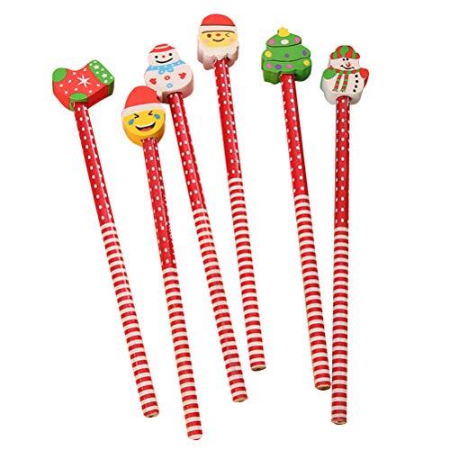 TOYMYTOY 21 cm Weihnachten Cartoon Bleistifte mit Radiergummi - Weihnachtsmann Weihnachtsbaum Schneemann Stocking Form Bleistifte Geburtstag Werbegeschenk Geschenk Kids Study Supplies, 12 Stück