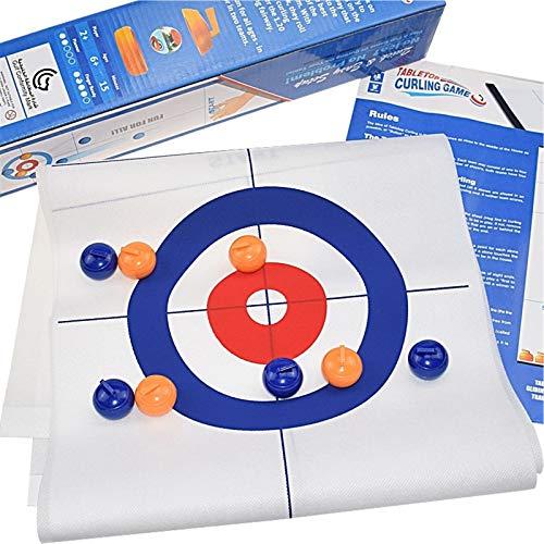 Curling Tabletop Game-Tischplatte Curling-Spielzeug für Kinder, Erwachsene und Familie, spaßiges Indoor-Sportspiel für alle, komm mit 8 Tabletop-Curling-Steinen.Einfach eingerichtet, spielen und tragb