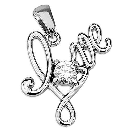 Bungsa® Anhänger Love Liebe mit Kristall Stein silber Edelstahl (Kettenanhänger Pendant Charm Beads Chirurgenstahl Damen Herren Schmuck)