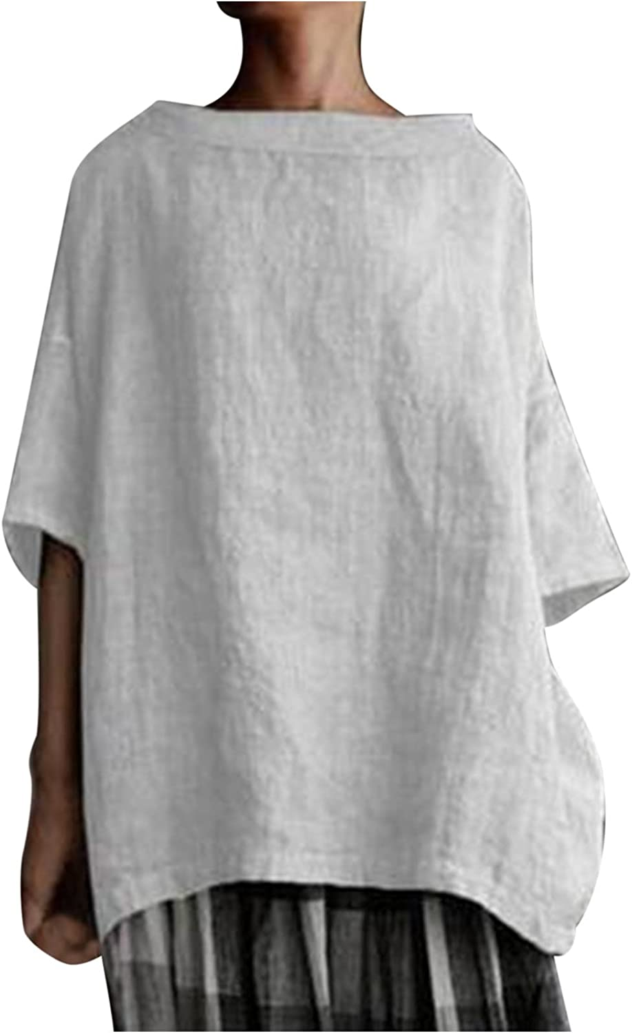 Women's Plus Size Tops and Blouses Round Neck Solid Color Cotton and Linen Three Quarter Sleeves Tops