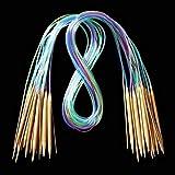 DealMux 18 piezas. 18 tamaños de agujas de tejer, tubo redondo, alfileres de herramientas de bambú carbonizado, accesorios prácticos de costura, 15,75'-47,24', 60 cm