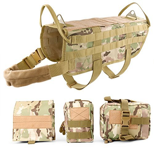 JASGOOD Tactical Dog Vest Harness Handle Training Dog Vest with Detachable Molle Pouches,M,2 Camo