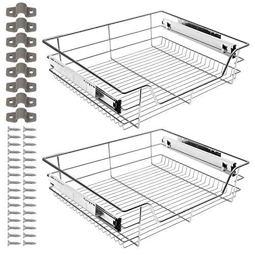 Hengda Teleskopschublade Für Schrankbreite 2 X 60 cm Küchenschublade inkl. Schienen mit Einlegeboden Küchenschublade Schlafzimmerschublade für Küchenschrank, aus Metall (Chrom)