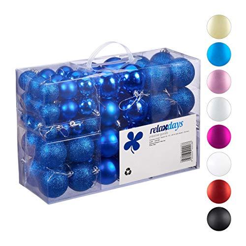Relaxdays Set de 100 Bolas, Decoración navideña, Mate, Brillante, Poliestireno, Azul, ∅ 3,4 6 cm