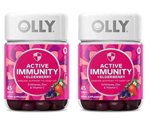 Olly Gummy Active Immunity+Elderberry, 45 Gummies (2 Pack), Berry Flavor