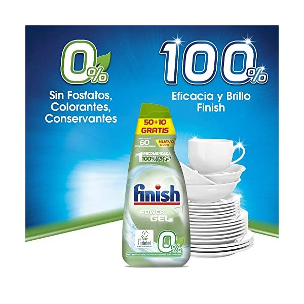 Finish Power Gel 0% Detergente Gel Lavavajilla con Certificado Ecológico – 60 Dosis