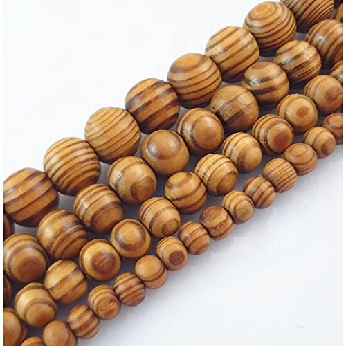SUNYUAN 6/8/10/12/16/18mm grano natural madera redondo perlas pino espaciador madera suelta perlas para pulsera collar DIY
