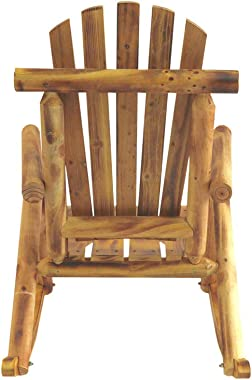 EZbuyeveryday Rocking Chair, Outdoor Wood Log Rocking Chair for Patio, Plantation,Porch, Living Room,Indoor or Outdoor (Wood)