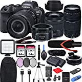 Canon EOS R6 with RF24-105mm f/4-7.1 is STM Lens Mirrorless Camera Bundle + EF75-300 is III, EF50 1.8 STM, EF-EOS R Mount Adapter, V30 Microphone, LED Light, Extra Battery, Backpack and Accessories
