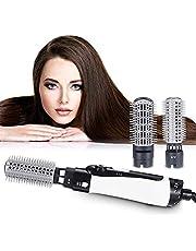 2-i-1 varmluftsborste hårfön negativ jon hårplattång borste locktång kombo med utbytbart borsthuvud, anti-skållning, design med lågt ljud