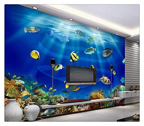 Fototapete Foto Fototapete Benutzerdefinierte 3D-Hintergrund Ozean Welt Herz Tuna Tropical Fish Hintergrund Wall Foto 3D Wallpaper, 250Cmx175Cm