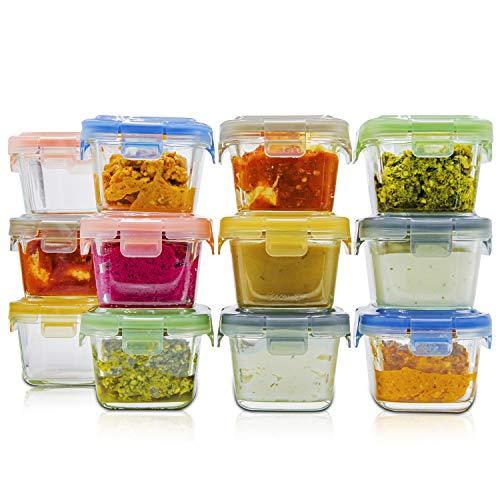 lunchley Tarros de cristal para almacenamiento de alimentos para bebé, juego de 12 unidades, tarros de comida para bebés de 5 onzas con tapas, almacenamiento para congelador,...