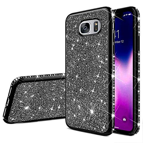 Herbests Compatible avec Samsung Galaxy S7 Edge Coque Glitter Fille Femme Etui Bling Paillettes Strass Diamant Placage Ultra Mince Crystal Clear Transparent Silikon Gel TPU Bumper Case Cover,Noir