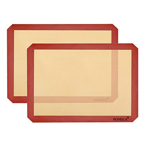 Silicone Baking Mat Sheet Set of 2- Reusable Baking Mat Nonstick - Half Sheet Baking Mat For Oven (Size 16.5' x 11.6') Red