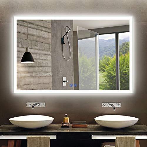 Large Horizontal Rectangle Mirror, LED Illuminated Backlit Wall Mount Bathroom Vanity Mirrors, Hotel...