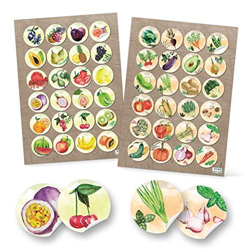Logbuch-Verlag Adhesivo decorativo, 4 cm, diseño de frutas y verduras