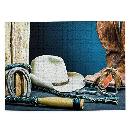 Jigsaw Puzzles 500 Pieces,Cowboy Boots,horseshoe,whip,spurs And Hat On Wood,Large Puzzle Game Artwork For Adults Teens Kids