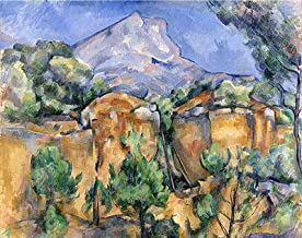 Cezanne (Mont Sainte-Victoire Seen from the Bibemus Quarry, c.1897) Canvas Art Print Reproduction (17.3x21.7 in) (44x55 cm)