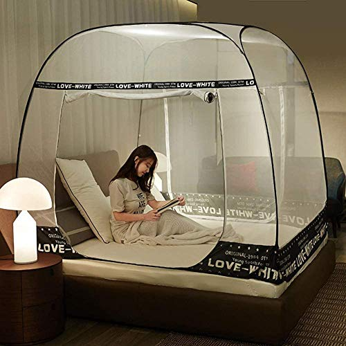 GYPPG Anti Pop up Freestanding Mosquito Net Bed Tent with Bottom Mosquito Nettings 3 Openings Folding Portable for Baby Toddlers Kids Adult Easy to Use-180x200cm_Black