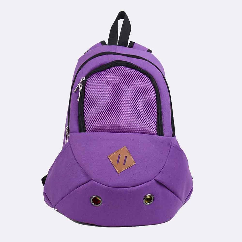 Adjustable Shoulder Dog Chest Backpack,Outgoing Pet Canvas Backpack ,Puppy Cat Portable Chest Pet Backpack,Breathable Ventilation,Purple