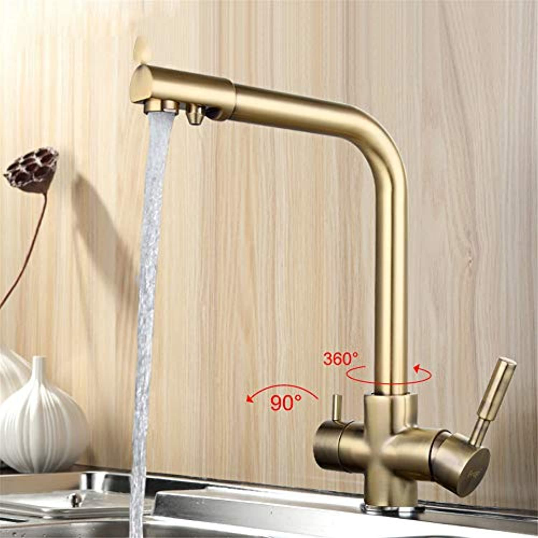 Cwill Bronze Küchenwasserhahn Sieben Brief Design 360 Grad-Rotation mit Wasseraufbereitung Merkmale Doppelgriff F4352-4