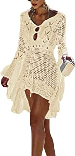 Macondoo Womens V Neck Knitted Beachwear Long-Sleeve Casual Dress Swimsuit Cover Up
