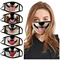 USA 7 Days Fast Shipment 5 PCS Funny Dog Printed Adults_Face_Mask_Novelty Face Bandanas Reusable Washable Breathable for Cycling