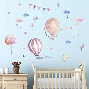Wandsticker4u Aquarell Wandsticker Wolken Heissluftballon I Wandbilder 170x70 Cm I Wandtattoo Kinderzimmer Madchen Junge Rosa Blau Ballons Punkte I Wand Deko Fur Baby Babyzimmer 2er Pack Amazon De Kuche Haushalt