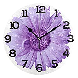 Wall Clock Purple Love Lavender Flower Round Acrylic Clock Black Large Numbers Silent Non-Ticking 9.45 Clock Decorative Painting Battery Operated Clock for Home School Hotel Library