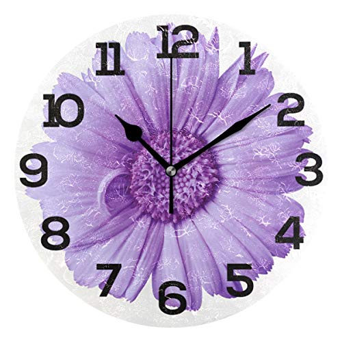 Wall Clock Purple Love Lavender Flower Round Acrylic Clock Black Large Numbers Silent Non-Ticking 9.45' Clock Decorative Painting Battery Operated Clock for Home School Hotel Library