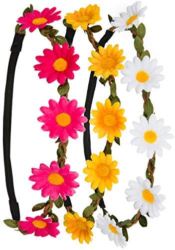 3x Blumen Stirnband Haarband Kopfband Krone mit justierbaren elastischen Band in den Farben weiß, gelb und pink