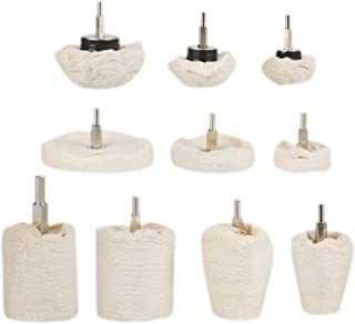 Estink 10pcs Various Polishing Mop Buffing Wheel Pad Kit for Drill Manifold Metal Aluminum Stainless Steel Chrome Wood and Glass