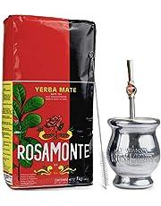 Yerba Mate Rosamonte Traditional 1 kg Mate Tee Set: Yerba Matebecher - Kalebasse   Yerba Mate Tee Strohhalm - Bombilla   Reinigungsbürste enthalten