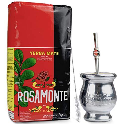 Yerba Mate Rosamonte Traditional 1 kg Mate Tee Set: Yerba Matebecher – Kalebasse | Yerba Mate Tee Strohhalm – Bombilla…