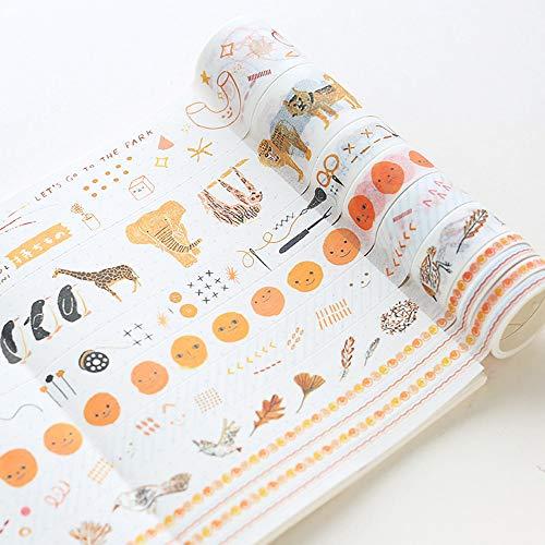 Washi Tape 8er Set, Dekoband Masking Tape Dekorative Buntes Klebebänder für DIY Basteln, Buchdesigns,Scrapbook Deko (K)