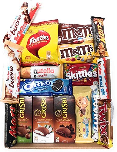 Mistery Box Assortita Snack Idea Regalo Compleanno 17/20 Pezzi Mars M&m's Kinder Lion Mars Ferrero Oreo Chocolate Nestle Dolci Sweet Sorpresa