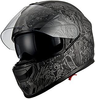 1Storm Motorcycle Full Face Helmet Dual Lens/Sun Visor Matt Skull Black
