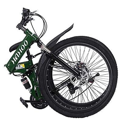 Tengma Folding Mountain Bike for Adult Teens 26 inch Full Suspension Non-Slip 21 Speed Gears Folding Outroad Bike Dual Disc Brake Bicycle,Fast-Speed Men or Women MTB Bike USA