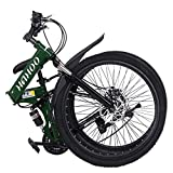 Dengken 26 inch Folding Bike Mountain Bike 21 Speed Non-Slip Full Suspension MTB Road Bicycle Double Disc Brake High Carbon Steel Sports Wheels for Adults Teens Men Women